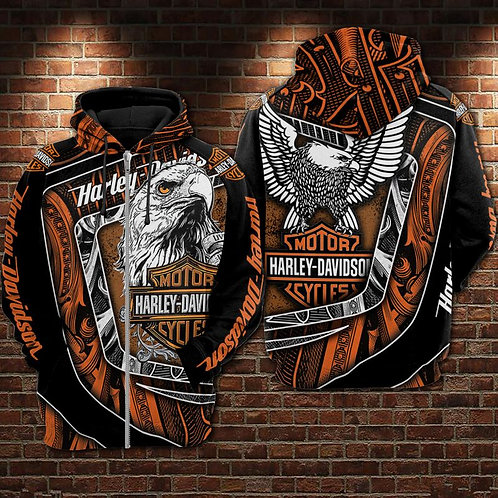 OFFICIAL-HARLEY-DAVIDSON-MOTORCYCLE-ZIPPERED-HOODIE/NEW-CUSTOM-3D-WINGED-EAGLE!!
