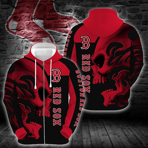 OFFICIAL-M.L.B.BOSTON-RED-SOXS-ZIPPERED-HOODIES/CUSTOM-3D-GRAPHIC-TRIBAL-SKULL!