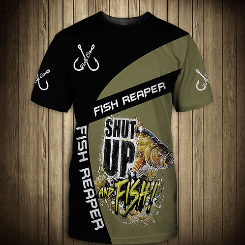 OFFICIAL-FISH-REAPER-SHORT-SLEEVE-TEE/CUSTOM-3D-GRAPHIC-PRINTED-SHUT-UP-AND-FISH