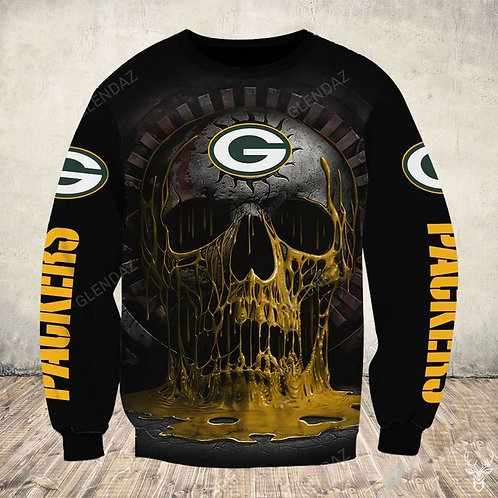 OFFICIAL-N.F.L.GREEN-BAY-PACKERS-TEE-SHIRTS/NEW-CUSTOM-3D-PRINTED-MELTING-SKULL!