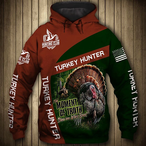 TURKEY-HUNTERS-PULLOVER-HOODIES/NEW-CUSTOM-3D-GRAPHIC-PRINTED-TROPHY-WILD-TURKEY