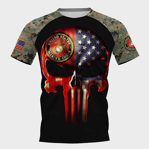 OFFICIAL-U.S.MARINES-MILITARY-TEES/CUSTOM-3D-PRINTED-FLAG-PUNISHER-SKULL-DESIGN!