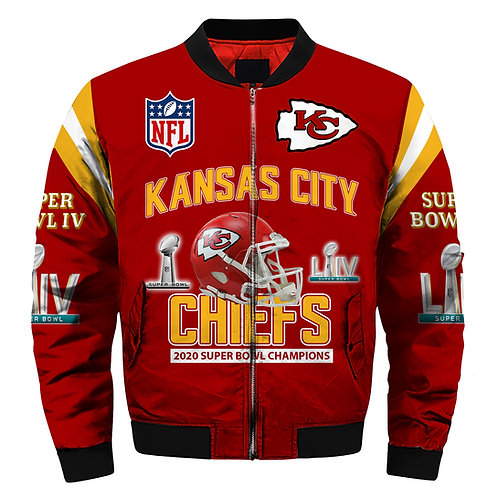 OFFICIAL-N.F.L.KANSAS-CITY-CHIEFS-TEAM-JACKET/CUSTOM-3D-SUPER-BOWL-LIV-CHAMPIONS