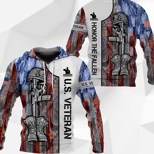 OFFICIAL-U.S.VETERAN-ZIPPERED-HOODIES/CUSTOM-3D-GRAPHIC-PRINTED-HONOR-THE-FALLEN