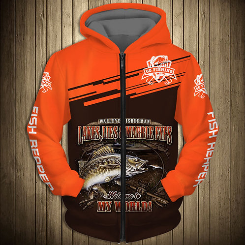 OFFICIAL-WALLEYE-FISHING-ZIPPERED-HOODIES/NEW-CUSTOM-3D-PRINTED-THE-FISH-REAPER!