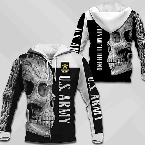 OFFICIAL-U.S.ARMY-ZIPPERED-HOODIE/CUSTOM-3D-GRAPHIC-PRINTED-WARRIOR-TRIBAL-SKULL