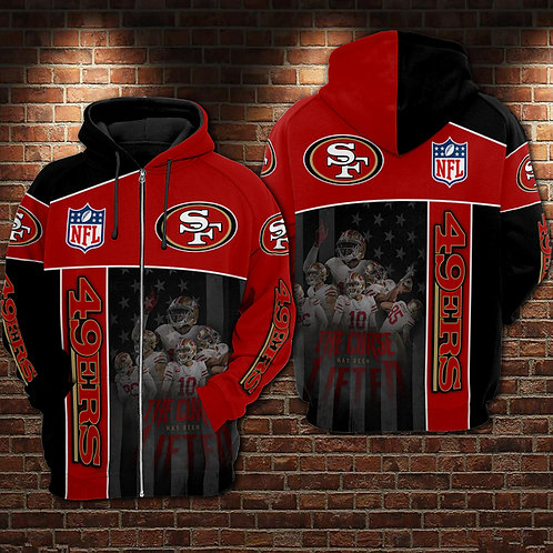 OFFICIAL-N.F.L.SAN-FRANCISCO-49ERS-ZIPPERED-HOODIE/NEW-CUSTOM-3D-GRAPHIC-DESIGN!