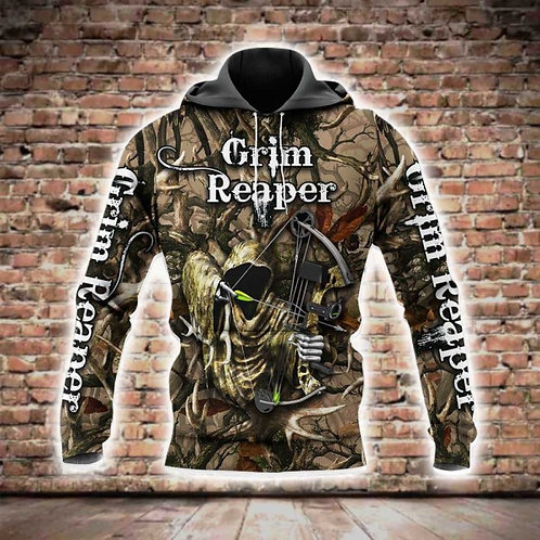 GRIM-REAPER-CAMO.PULLOVER-HOODIES/BOW-HUNTERS-CUSTOM-3D-GRAPHIC-PRINTED-DESIGN!