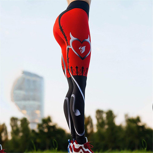 **(LI-FI Trendy-Red-Heart Fitness Yoga Pants/Sport Work-Out-Premium-Leggings)**