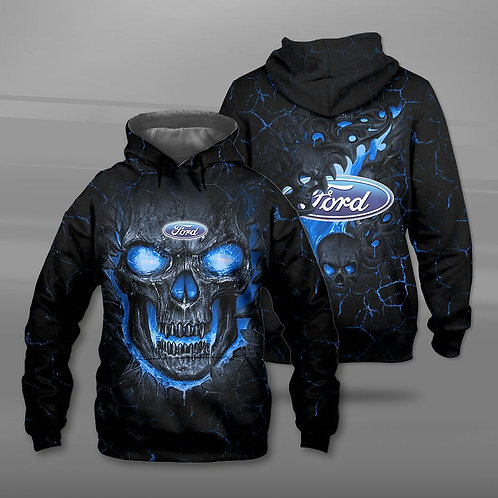 BIG-FIREY-BLUE-SKULL-THEMED-OFFICIAL-FORD-PULLOVER-HOODIE/NEW-CUSTOM-3D-PRINTED!
