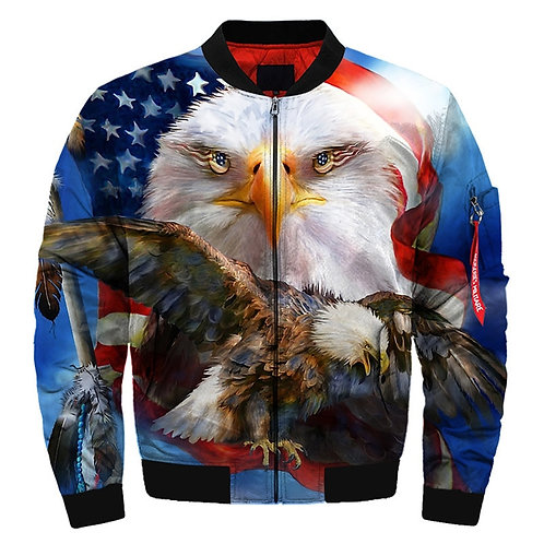 *(BIG-PATRIOTIC-BALD-EAGLE & FLAG-BACK-GROUND/3D-CUSTOM-PRINTED-BOMBER-JACKETS)*