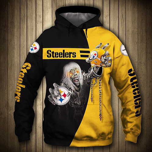 OFFICIAL-N.F.L.PITTSBURGH-STEELERS-PULLOVER-HOODIE/CUSTOM-3D-SUDDEN-DEATH-SKULL!