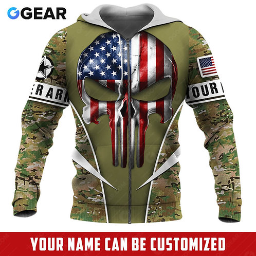 OFFICIAL-U.S.ARMY-CAMO.ZIPPERED-HOODIE/CUSTOMIZE-WITH-YOUR-NAME-OR-MILITARY-UNIT
