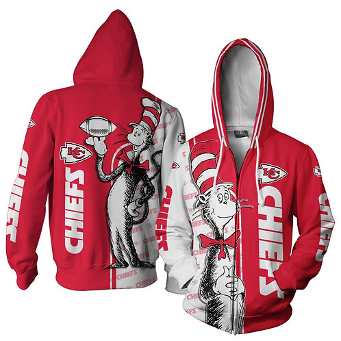 OFFICIAL-N.F.L.KANSAS-CITY-CHIEFS-ZIPPERED-HOODIES/NEW-CUSTOM-3D-CAT-IN-THE-HAT!