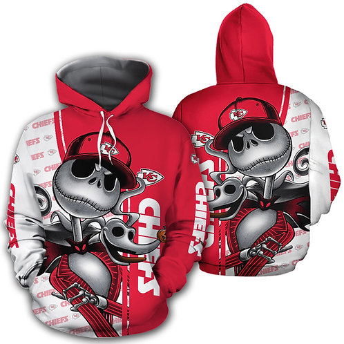 OFFICIAL-N.F.L.KANSAS-CITY-CHIEFS-PULLOVER-HOODIES/NEW-CUSTOM-3D-JACK-SKELETON!!