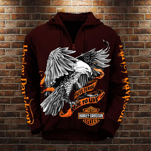 OFFICIAL-3D-GRAPHIC-PRINTED-HARLEY-ZIPPERED-HOODIES/LIVE-TO-RIDE & RIDE-TO-LIVE!