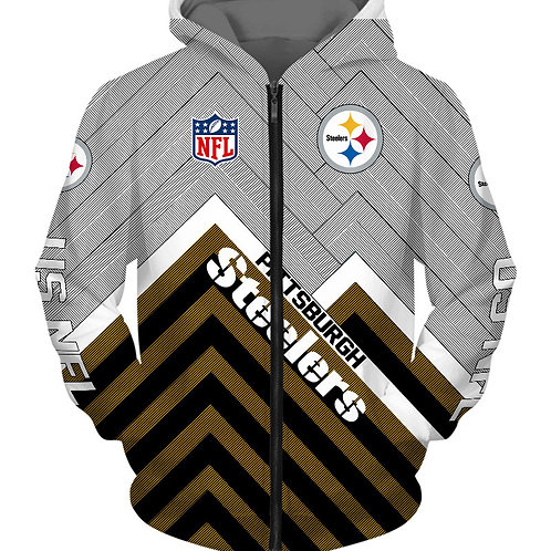 *OFFICIAL-N.F.L.PITTSBURGH-STEELERS/NEW-3D-CUSTOM-PRINTED-TEAM-ZIPPERED-HOODIES*