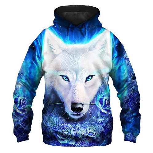 *BIG-BEAUTIFUL-WHITE-SNOW-WOLF & WHITE-ROSES/3D-CUSTOM-PRINTED-PULLOVER-HOODIE*