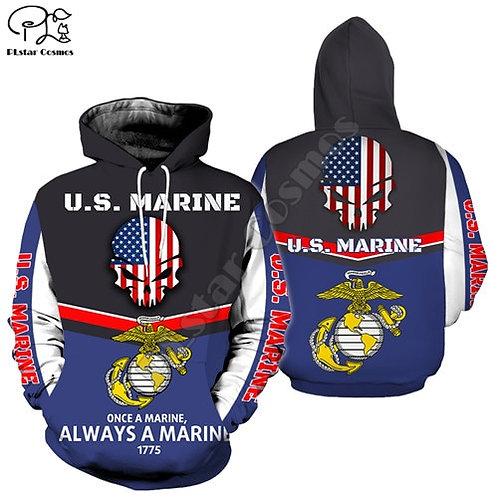 OFFICIAL-U.S.MARINE-VETERANS-PULLOVER-HOODIES/CUSTOM-3D-PUNISHER-SKULL-DESIGN!
