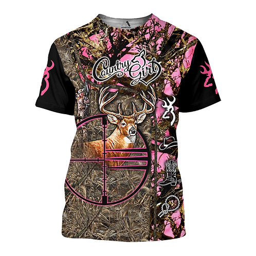 COUNTRY-GIRL-TRENDY-CAMO.SPORT-TEE/BOW-HUNTERS-CUSTOM-3D-GRAPHIC-PRINTED-DESIGN!