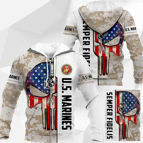 OFFICIAL-U.S.MARINES-CAMO.ZIPPERED-HOODIES/NEW-CUSTOM-3D-PRINTED-PUNISHER-SKULL!