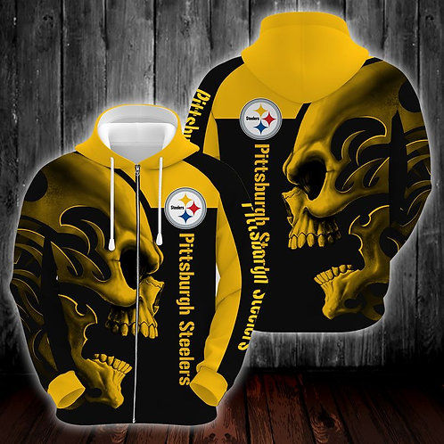OFFICIAL-N.F.L.PITTBURGH-STEELERS-ZIPPERED-HOODIE/CUSTOM-3D-GRAPHIC-TRIBAL-SKULL