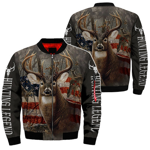 BIG-TROPHY-DEER-BUCK & PATRIOTIC-FLAG/NEW-CUSTOM-3D-GRAPHIC-PRINT-FLIGHT-JACKET!