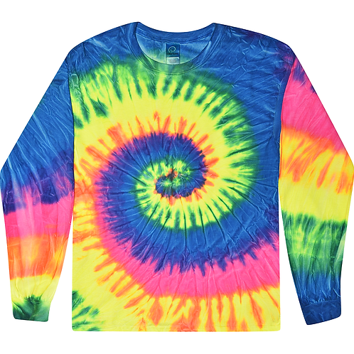 TRENDY-NEW-DEEP-NEON-RAINBOW-SPIRAL-PATTERN/TYE-DYED-PREMIUM-LONG-SLEEVE-TEES!