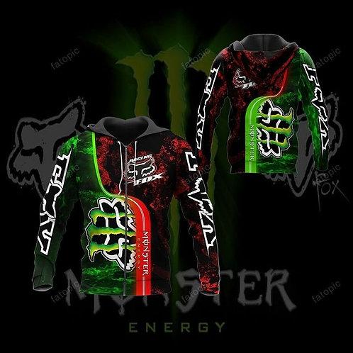 OFFICIAL-MONSTER-ENERGY & FOX-RACING-ZIPPERED-HOODIES/CUSTOM-3D-GRAPHIC-DESIGN!!