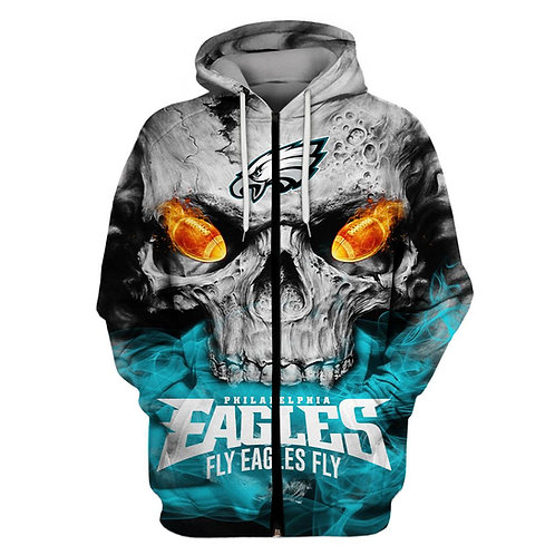 OFFICIAL-N.F.L.PHILADELPHIA-EAGLES-ZIPPERED-HOODIES/NEW-CUSTOM-3D-FLY-EAGLES-FLY