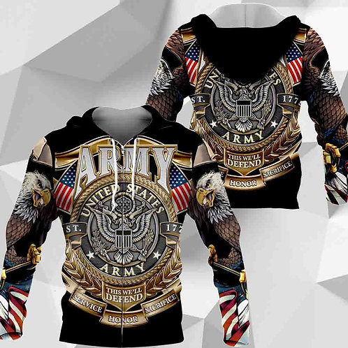 OFFICIAL-U.S.ARMY-ZIPPERED-HOODIES/CUSTOM-OFFICIAL-ARMY-LOGOS/THIS-WE'LL-DEFEND!