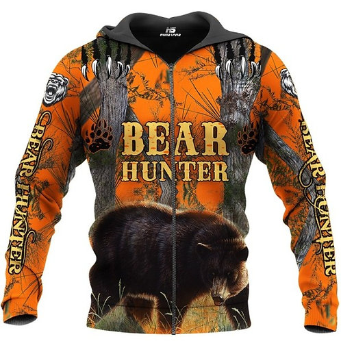 BEAR-HUNTERS-ORANGE-CAMO.ZIPPERED-HOODIES/CUSTOM-3D-PRINTED-TROPHY-BROWN-BEAR!!