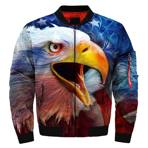 *NEW-PATRIOTIC-BALD-EAGLE & FLAG-BACK-GROUND/3D-GRAPHIC-PRINTED-BOMBER-JACKETS*