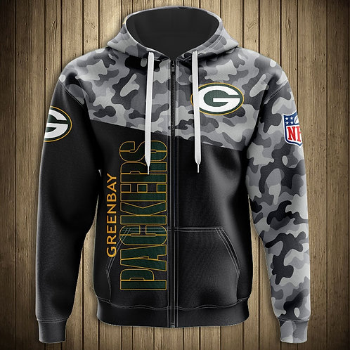 OFFICIAL-N.F.L.GREEN-BAY-PACKERS-CAMO.DESIGN-ZIPPERED-HOODIES/CUSTOM-3D-PRINTED!