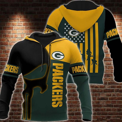 OFFICIAL-N.F.L.GREEN-BAY-PACKERS-FASHION-PULLOVER-TEAM-HOODIES/PUNISHER-SKULL!!