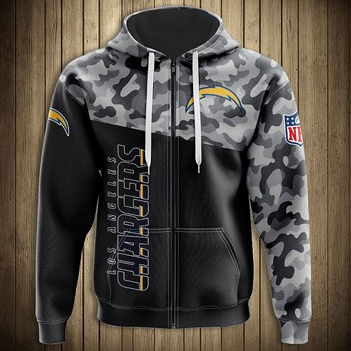 OFFICIAL-N.F.L.LOS-ANGELES-CHARGERS-CAMO.ZIPPERED-HOODIES/NEW-CUSTOM-3D-PRINTED!
