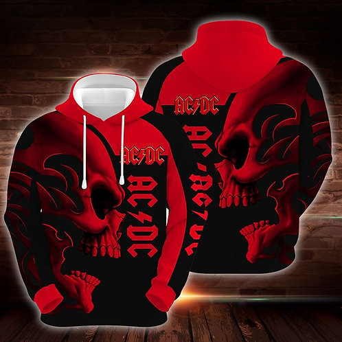 OFFICIAL-AC/DC-CLASSIC-ROCK-BAND-PULLOVER-HOODIES/CUSTOM-3D-TRIBAL-SKULL-DESIGN!