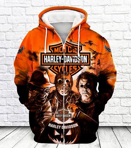 OFFICIAL-HARLEY-DAVIDSON-ZIPPERED-HOODIES/CUSTOM-CLASSIC-HALLOWEEN-HORROR-MOVIE!