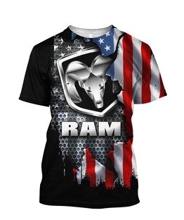**OFFICIAL-DODGE-RAM-PATRIOTIC-TEES/NEW-3D-CUSTOM-PRINTED-DOUBLE-SIDED-DESIGNS**