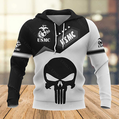 OFFICIAL-U.S.MARINE-VETERANS-PULLOVER-HOODIES/CUSTOM-3D-PUNISHER-SKULL-DESIGN!