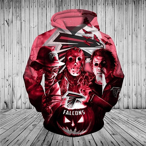 N.F.L.ATLANTA-FALCONS/CLASSIC-HALLOWEEN-HORROR-MOVIE-CHARACTERS-3D-CUSTOM-HOODIE