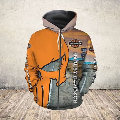 OFFICIAL-HARLEY-DAVIDSON-MOTORCYCLE-ZIPPERED-HOODIE/NEW-3D-CUSTOM-PUNISHER-SKULL