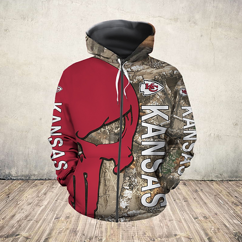 OFFICIAL-N.F.L.KANSAS-CITY-CHIEFS-ZIPPERED-HOODIES/CUSTOM-3D-CAMO.PUNISHER-SKULL