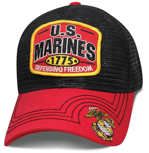 OFFICIAL-U.S.MARINES & DEFENDING-FREEDOM-1775/NEW-CUSTOM-3D-BLACK-MESH-BACK-HAT!
