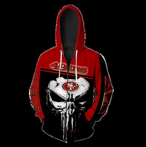 OFFICIAL-N.F.L.SAN-FRANCISCO-49ERS-ZIPPERED-HOODIE/CUSTOM-3D-TEAM-PUNISHER-SKULL