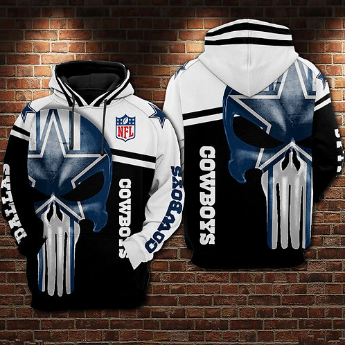 OFFICIAL-N.F.L.DALLAS-COWBOYS-PULLOVER-HOODIES/COWBOYS-3D-GRAPHIC-PUNISHER-SKULL