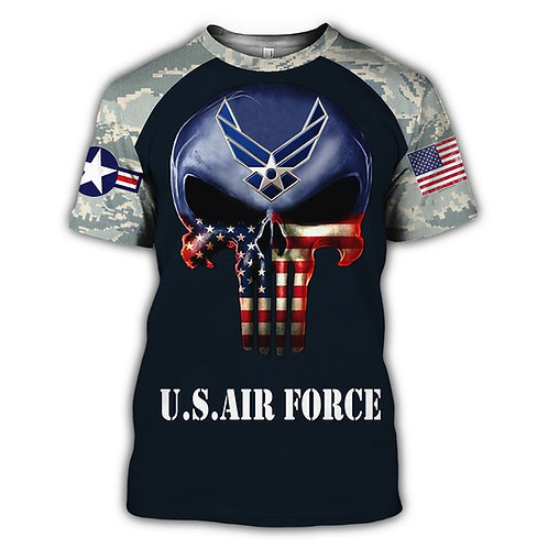OFFICIAL-U.S.AIR-FORCE-MILITARY-VET.TEES/CUSTOM-PATROITIC-FLAG-PUNISHER-SKULL!!