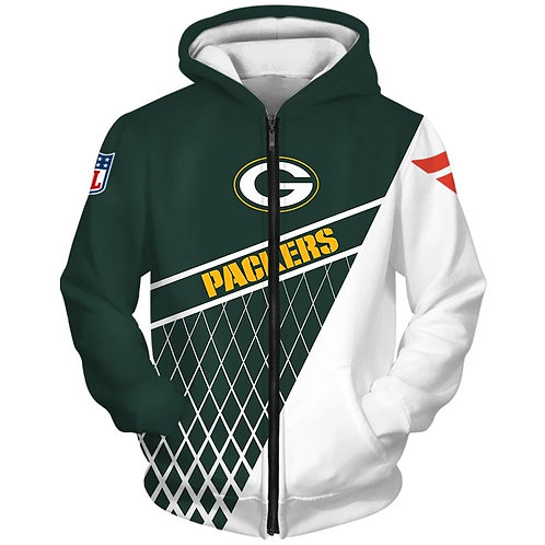 OFFICIAL-N.F.L.GREEN-BAY-PACKERS-FASHION-ZIPPERED-TEAM-HOODIES/CUSTOM-3D-DESIGN!