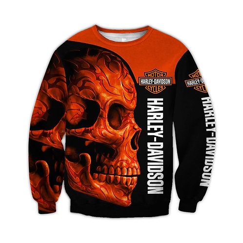 OFFICIAL-HARLEY-DAVIDSON-LONG-SLEEVE-TEES/NEW-CUSTOM-3D-NEON-ORANGE-TRIBAL-SKULL