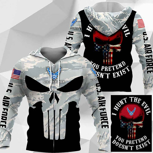 OFFICIAL-U.S.AIR-FORCE-CAMO-ZIPPERED-HOODIES/CUSTOM-3D-PRINTED-PUNISHER-SKULL!!